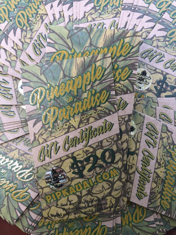 Pineapple in Paradise Gift Certificates