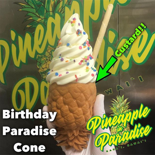 Birthday cake whip in a paradise cone