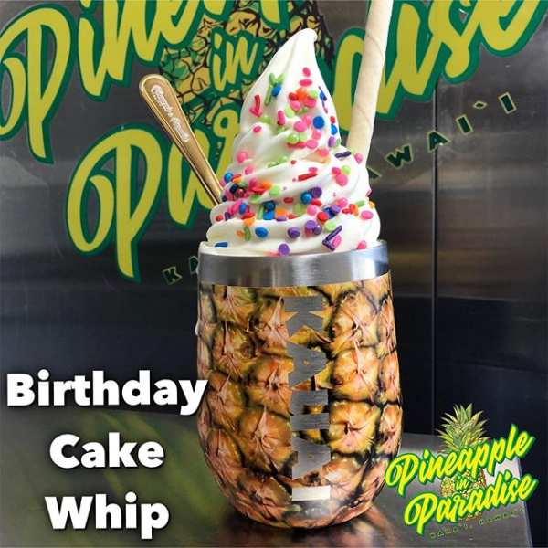 birthday cake whip in a stainless steel tumbler