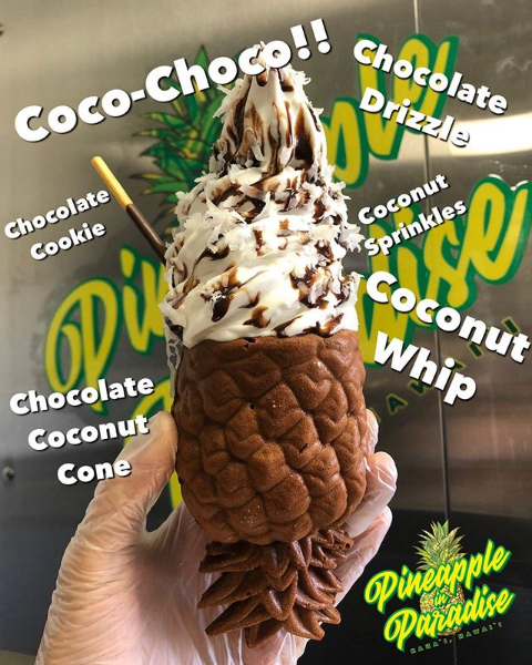 Coconut whip in a chocolate coconut paradise cone