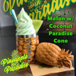 Melon whip in a pineapple tumbler with a paradise cone on the side