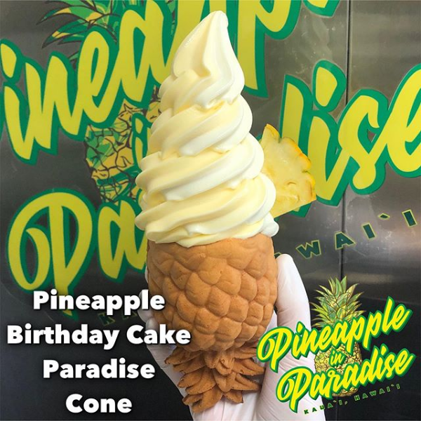 pineapple and birthday cake whip in a paradise cone